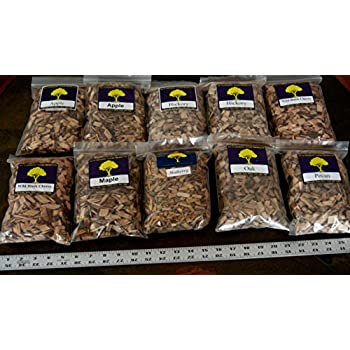 J.C.'s Smoking Wood Chips - Variety #1 - 10 Pk - #2 65 Cu Inch Quart Bags of Apple, Hickory, Wild Black Cherry & #1 65 Cu Inch Quart Bags of Maple, Mulberry, Oak, Pecan