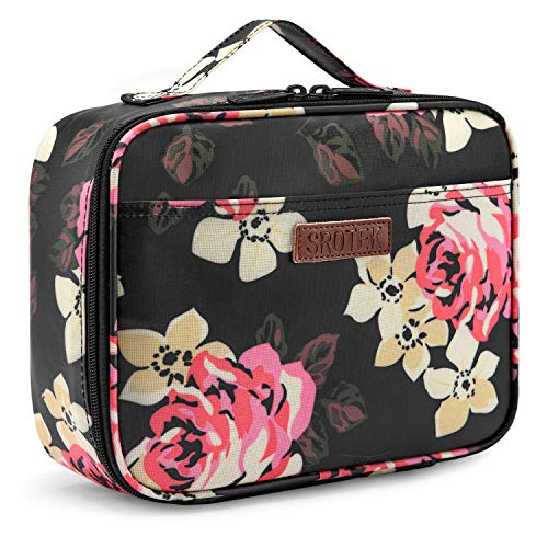 Srotek Lunch Bag for Women Lunch Box Insulated Cooler Bag Water-resistant Thermal Tote Lunch Bag Floral Pattern Wide-open Lunch Bags Snacks Organizer - Tote Floral Thermal