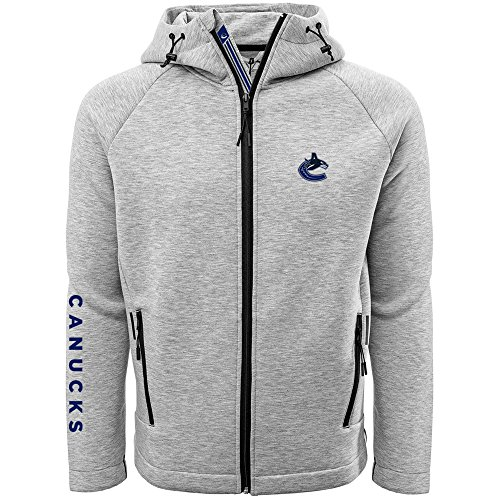 Vancouver Canucks Jersey - Levelwear LEY9R NHL Vancouver Canucks Adult Men Titan Banner Stripe Full Zip Hooded Jacket, Small, Heather Pebble