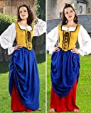 """Renaissance Gothic Pirate Medieval Wench """"Double Layer"""" Skirt (XX-Large, Denim Blue & Red)"""