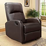 JUMMICO Manual PU Leather Recliner Chair Single Sofa Armchair Furniture Thick Seat Cushion Home Theater Seating Chaise Couch Modern Living Room Recliners Chair (Brown)