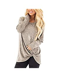 Shinekoo Women's Long Sleeve Tops Round Neck Loose Fit T-Shirt Casual Blouse