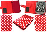 Emartbuy New Kindle 4 Wallet Case Cover Pouch In Polka Dots Red/White with FREE Screen Protector for New Amazon Kindle 4, All - New Latest Generation 2011 Release Amazon Kindle 6' inch Wi-Fi