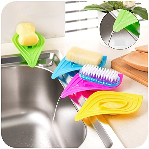 2 Pcs (Random Color) vanzlife multifunctional slip ring leaves soap box drain and clean soap dishes kitchen sink sponge holder