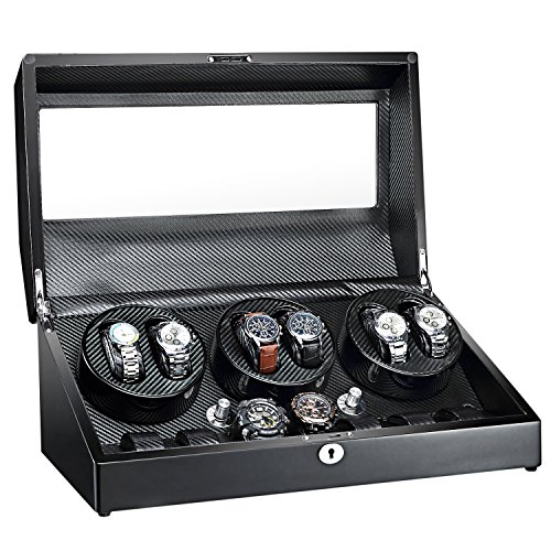AUBLAN Automatic Watch Winder 6+7 Storage Boxes for 13 Watches, with Quiet Mabuchi Motors, Wood Shell Piano Paint Exterior, Soft Flexible Watch Pillows