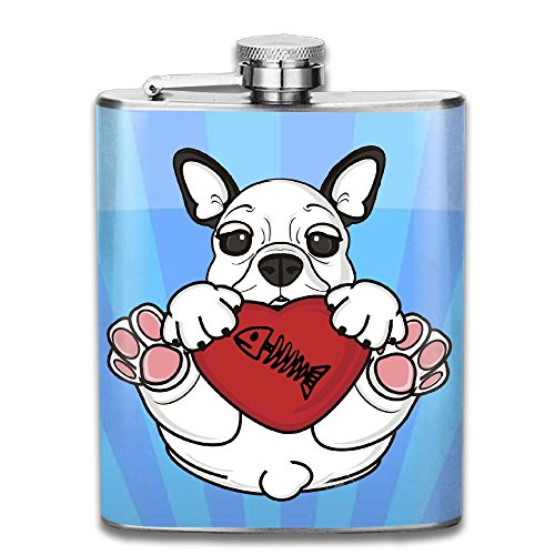 936bc7f6c73e JIUHUBX I Love Fish Funny Bulldog Stainless Steel Liquor Flagon Retro  Pocket Flask\Stainless Steel Travel Flask Great Little Gift,Safe And  Nontoxic