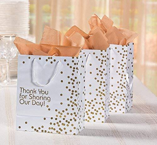 Tick Tocking 12/x Paper Medium Metallic Gold wedding day DOT Gift Bags Misura unica 1
