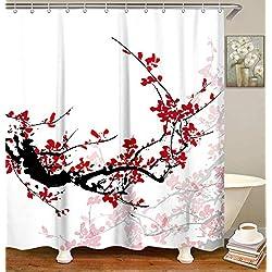 "LIVILAN Cherry Blossom Shower Curtains Set with 12 Hooks Fabric Shower Curtain for Bathroom Decor, 70.8"" x 70.8"", Orange Red"