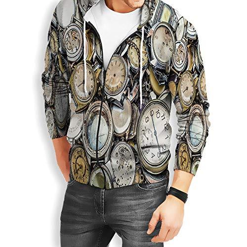 (Coaballa Men's Clock Decor Zip Hoodie Sweatshirt)