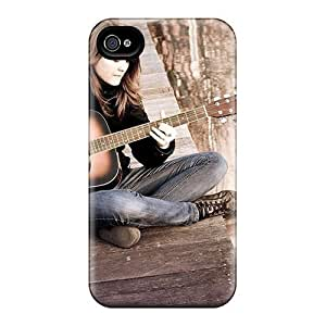 For Iphone 4/4s Tpu Phone Case Cover(girl Playing Guitar)
