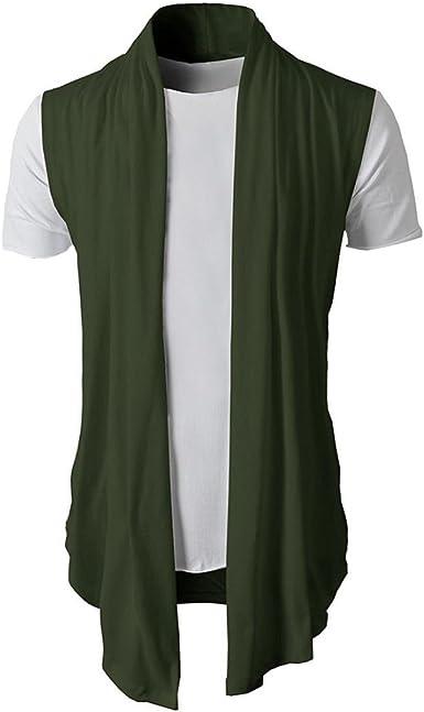 UJUNAOR Men Sleeveless Cardigan T Shirt Casual Slim Fit Dress Shirts Formal Tops