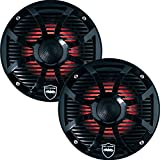 Wet Sounds REVO 6-SWB Black Closed SW Grille 6.5 Inch Marine LED Coaxial Speakers (pair)