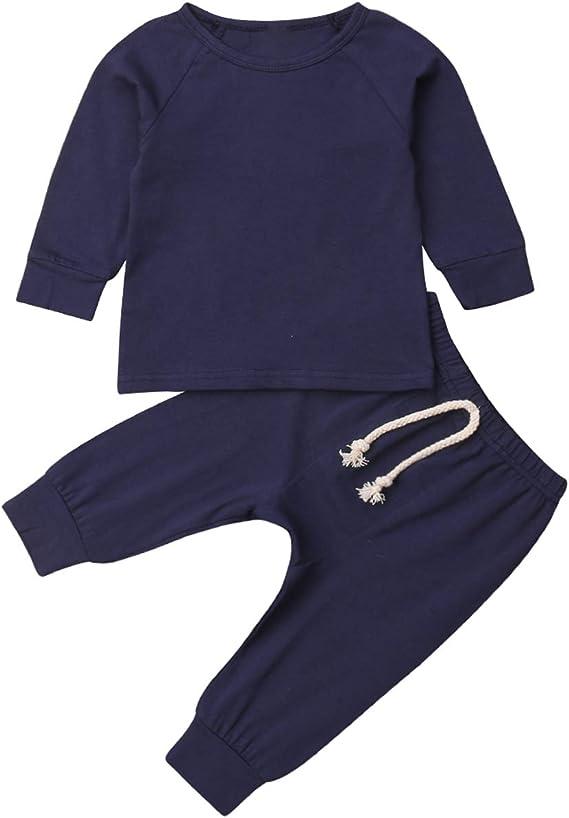 Aunavey Newborn Baby Boy Girl Organic Cotton Sweatshirt Harem Pants Fall Winter Baby Going Home Outfit