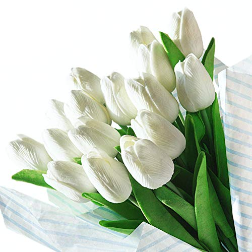 Veryhome Artificial Tulips Flores de latex con Toque Real para la decoracion de la Fiesta de Bodas, Paquete de 20, Blanco