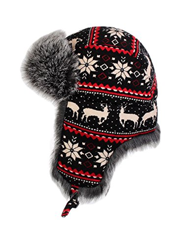 Faux Fur Winter Trapper - LITHER Knitted Russian Women Winter Aviator Trapper Hat with Faux Fur Lining Hat