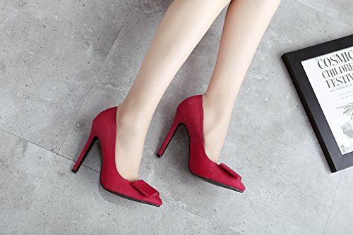 Wildleder Bogen Spitze Schuhe Asakuchi Dünne Fersen Red