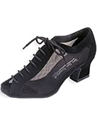 Peep Toe Practice Ballroom Shoe 1.8 Cuban Heel (Black mesh/Nubuck)