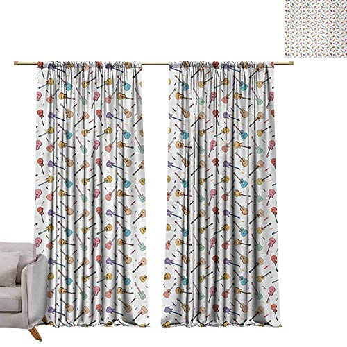 """Tr.G 84"""" W x 100"""" L Pattern Curtains Rod Pocket Curtain Panels for Bedroom & Kitchen Guitar,Rhythm and Melody Pattern with Colorful Acoustic Guitars Country Music Songs Theme,Multicolor"""