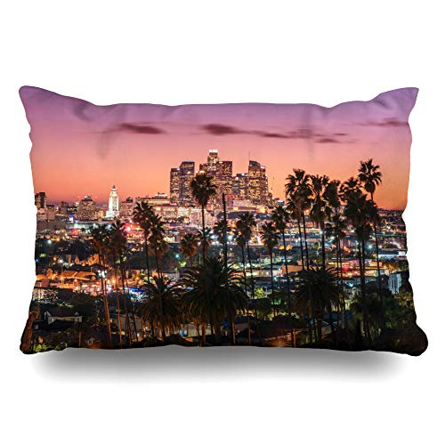 Ahawoso Throw Pillow Cover Queen 20x30 Skyscraper Blue Hollywood Sunset Los Angeles Downtown Red Skyline Orange Night City Palm Cityscape Zippered Cushion Pillow Case Home Decor Pillowcase