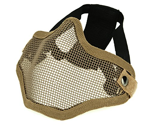 ArcEnCiel Tactical Airsoft Steel Metal Mesh Half Face Mask (Tan) ()
