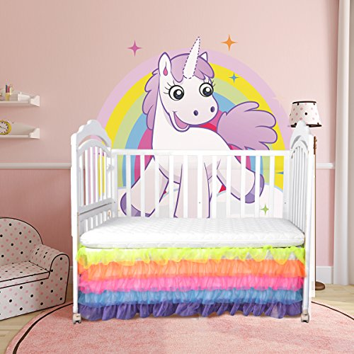 Toddler Bed Skirt Ruffle Crib Skirt for Mini Baby Boys and Girls Rainbow Tutu Bed Skirt 5Layers Drop Tulle for Baby Unicorn Party,Wedding Baby Shower Birthday Party Decorations by CO-AVE
