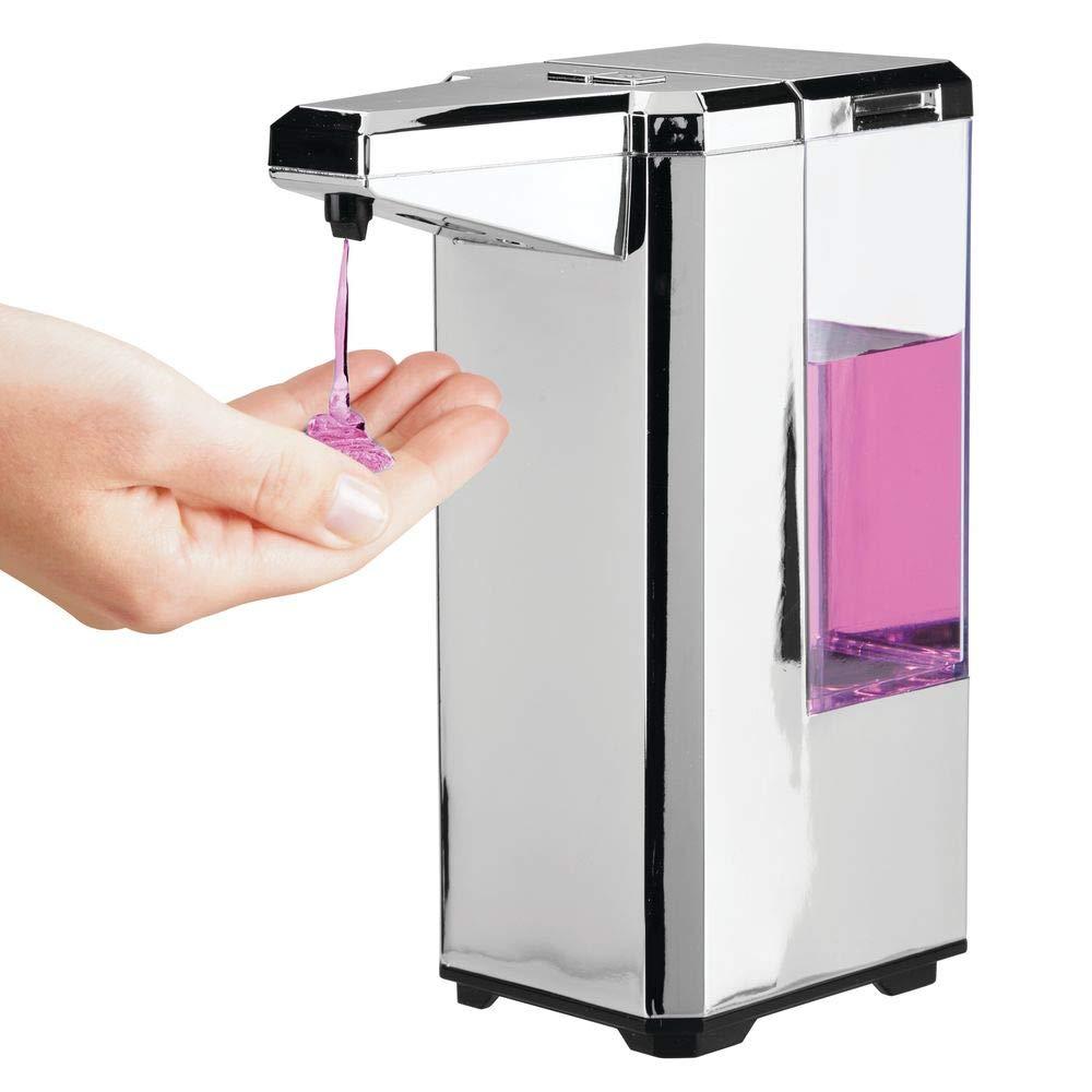 mDesign Dosificador de jabón eléctrico sin contacto – Dispensador automático de plástico con sensor para cocina y baño – Dispensador de líquidos antideslizante con infrarrojos – plateado/transparente