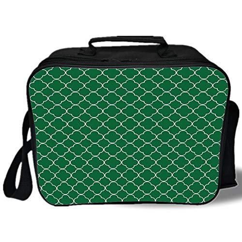 - Insulated Lunch Bag,Quatrefoil,Four Leaf Clover Flower on Moroccan Trellis Mosaic Pattern Traditional Digital Print,Green,for Work/School/Picnic, Grey