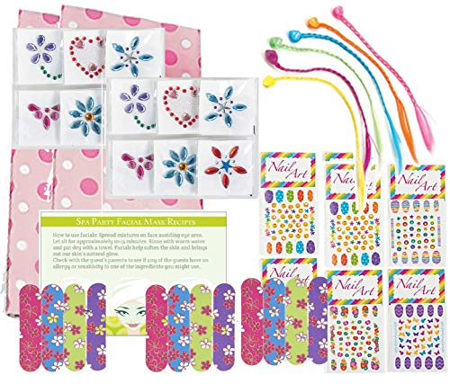 Spa Party Supplies for Girls - MINI Emery Boards (12), Colored Hair Clip Braids (12), Body Jewels (12), Nail Decal Sets (12), Pink Cello Bags (12) and Facial Recipes, Total 61 Pieces ()
