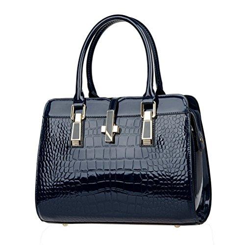 Lady de piel sintética para mujer Fashion Casual Vintage de piel de cocodrilo asa superior bolso satchel Bolso - negro