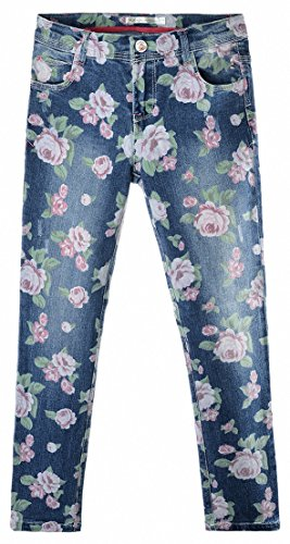Tooboo Big Girls' Super Soft Stretch Denim Jeans Flower Print Super Skinny Jean