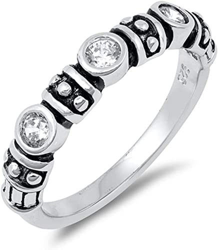 Eternity Solid 925 Sterling Silver CZ Cubic 3D Band Ring 14K White Gold Finish
