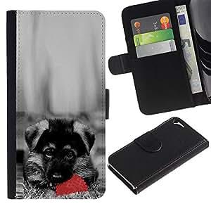 Ihec-Tech / Flip PU Cuero Cover Case para Apple Iphone 5 / 5S - Cute Dog German Sheppard Puppy