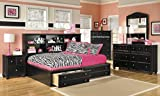 Jaidyn Youth Wood Bookcase Storage Bed Room set in Rich Black Finish, Full Bed, Dresser, Mirror, 2 Nightstands