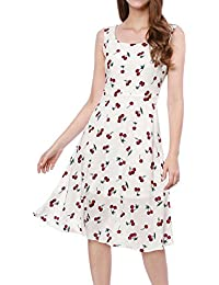 Womens 1950s Sleeveless Swing Cherry Print Midi Flare Vintage Dress
