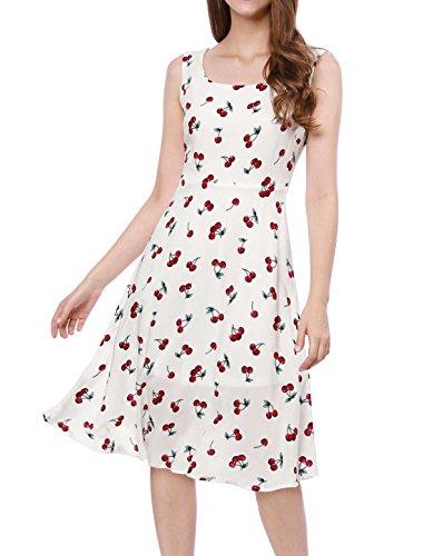 Allegra K Women's 1950s Sleeveless Cherry Print Midi Flare Vintage Dress L White ()