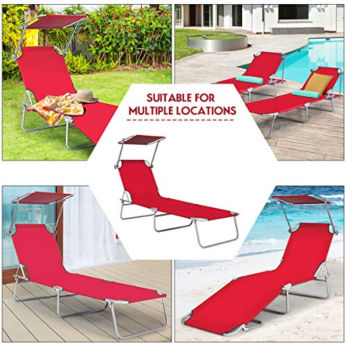 Goplus Folding Chaise Lounge Chair Adjustable Outdoor Recliner w Detachable Canopy for Pool Lawn Yard Patio Beach Red