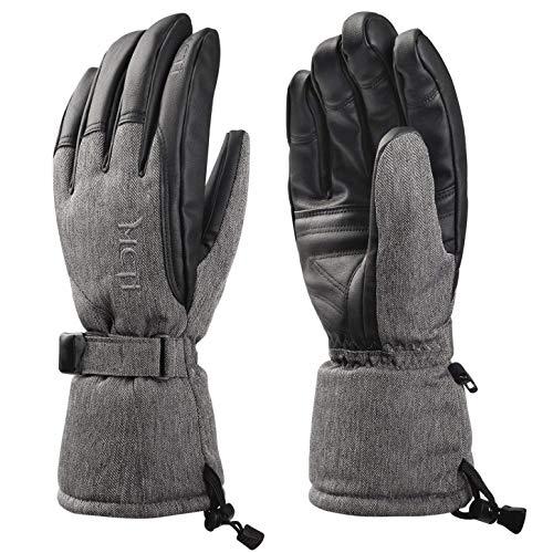 Fitself Waterproof Ski Gloves Mens Womens Winter Snow Snowboard PU Leather 3M Thinsulate Windproof Warm Gloves