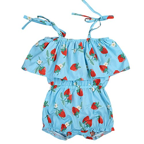 ONE'S Infant Baby Girls Strawberry Printing Jumpsuit Overalls Ruffle Romper Outfits (18-24 Months, Blue)