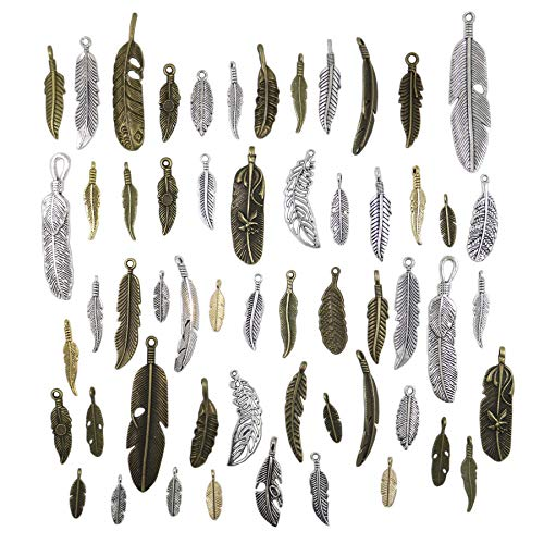 40pcs Mixed Antique Bronze/Antique Silver Feather Charms Pendants Jewelry Making Accessories DIY