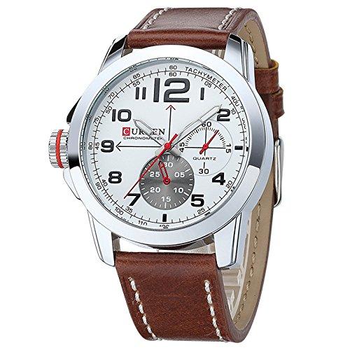 El mundo de la moda CURREN Wishar sencilla correa de cuero reloj de los hombres de negocios de estilo informal: Amazon.es: Relojes