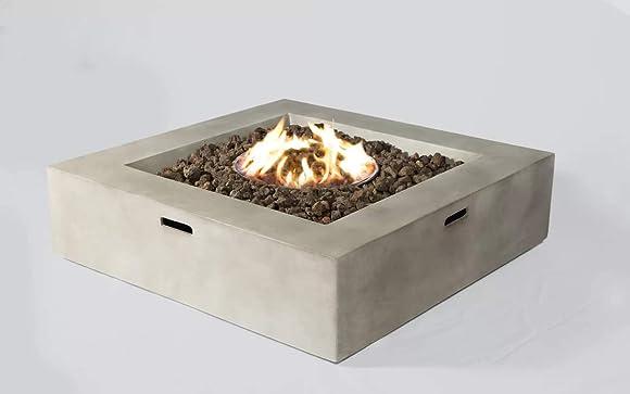 Century Modern Outdoor Concrete Propane Fire Pit Table CM-1010C Cream
