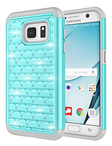 Galaxy S7 Case, Jeylly [Diamond Star] Hybrid Rubber Plastic Shock Absorbing Studded Rhinestone Crystal Bling Armor Defender Rugged Case Cover for Samsung Galaxy S7 S VII G930 GS7 - -