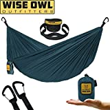 Wise Owl Outfitters Ultralight Camping Hammock with Tree Straps - Feather Light Lightweight Compact Durable Ripstop Parachute Nylon Hammocks - Outdoor Travel Backpacking Hiking – Blue