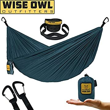 Wise Owl Outfitters Ultralight Camping Hammock with Tree Straps – Feather Light Lightweight Compact Durable Ripstop Parachute Nylon Hammocks – Outdoor Travel Backpacking Hiking