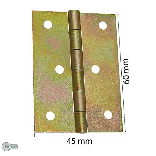 10 Gerollte Scharniere Kantige Möbelscharniere 40 x 42 mm Gelb Verzinkt