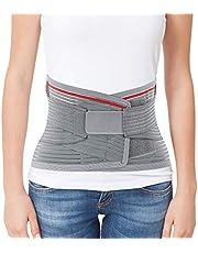 "ORTONYX Lumbar Support Belt Lumbosacral Back Brace – Ergonomic Design and Breathable Material - L/XXL (Waist 39.7""-47.6"") Gray/Red"