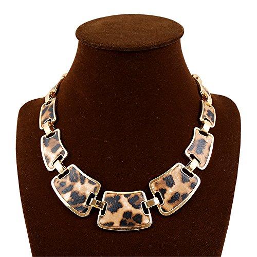 Fashion Gold Tone Style Leopard Grain Necklace Collar Bib for Women