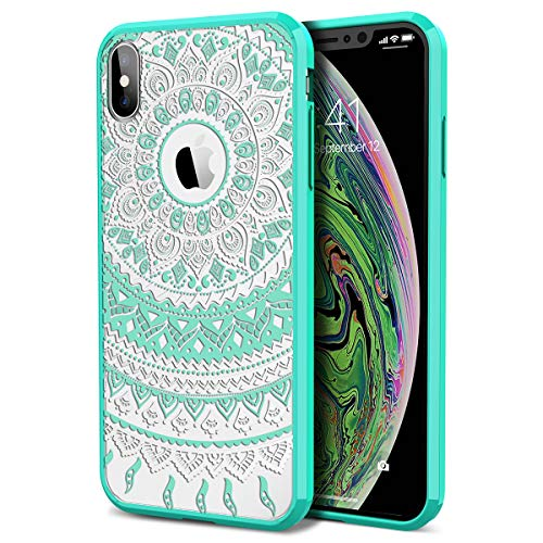 iPhone Xs Max Case, SmartLegend [Totem Series] Shockproof Full Body Rugged Clear Bumper with Mandala Floral Pattern Protective Case for Apple iPhone Xs Max 6.5 Inch (2018)- Mint