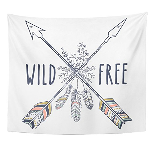 Emvency Tapestry Vintage Boho Tribal Ethnic Crossed Arrows Feathers Home Decor Wall Hanging for Living Room Bedroom Dorm 50x60 Inches