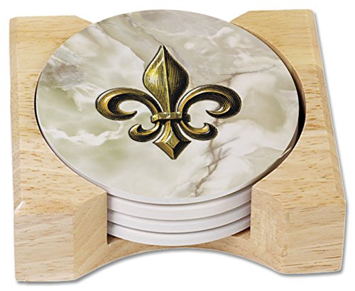 (CounterArt Fleur De Lis Design Round Absorbent Coasters in Wooden Holder, Set of 4)